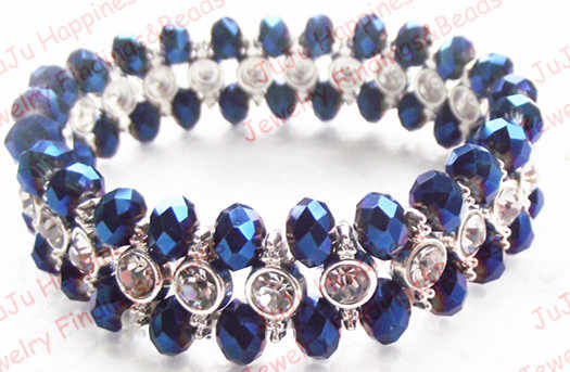 Fashion mix color 6mm crystal glass loose beaded silver color accessory women bracelet 18cm gcb1151