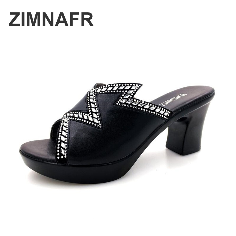ZIMNAFR BRAND WOMEN SLIPPERS FASHION PLATFOR <font><b>SANDALS</b></font> WOMEN SHOES SUMMER <font><b>SEXY</b></font> <font><b>HIGH</b></font> <font><b>HEEL</b></font> WOMEN <font><b>SANDALS</b></font> PLUS SIZE 35-42 image