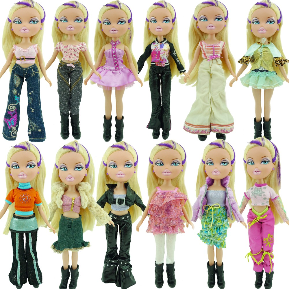 Random 1 Set Outfit Tops Vest Blouse Shirt Jeans Pants Skirt Dress Casual  Daily Clothes Accessories For Bratz Doll 10 In Puppet