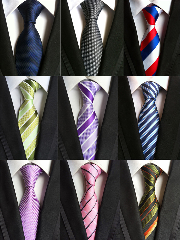 Accessories Ties For Men Striped Pattern Business Silk Tie Pink Red Black Blue Yellow Navy Purple Orange Green Necktie Gravatas