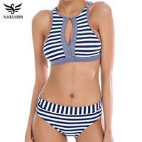 NAKIAEOI 2016 Sexy High Neck Bikini Women Swimsuit Bathing Suit Plaid Strapless Push Up Swimwear Brazilian