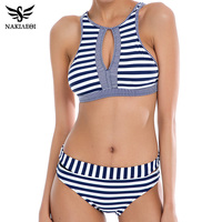 NAKIAEOI 2016 Sexy High Neck Bikini Women Swimsuit Bathing Suit Plaid Strapless Push Up Swimwear Brazilian