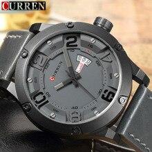 Original novo Curren homens Relógios Top Marca de Luxo Homens Relógio de Quartzo Pulseira de Couro Esporte Casual Masculino Relógio de Pulso À Prova D' Água