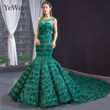 Green formal women elegant mermaid gown Prom dress Yewen