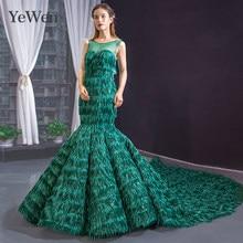 Green formal women elegant mermaid gown Prom dress Yewen
