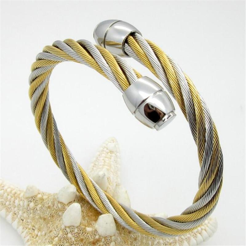 Wire Men Bangleteel Bangle Man\'s Girls Rope Silver/Gold Tone ...
