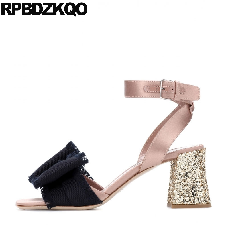 Shoes Designer Sandals Women Luxury 2018 Chunky Slingback Bow Pumps Rose  Gold High Heels Glitter Bowtie Ankle Strap Sequin 0e77c8e2c1bf