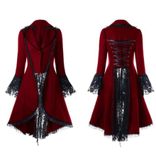 e4d3e751bb0 Gothic Retro Women Lace Trim Long Coat Medieval Victorian Steampunk Lace-Up  High Low Jacket