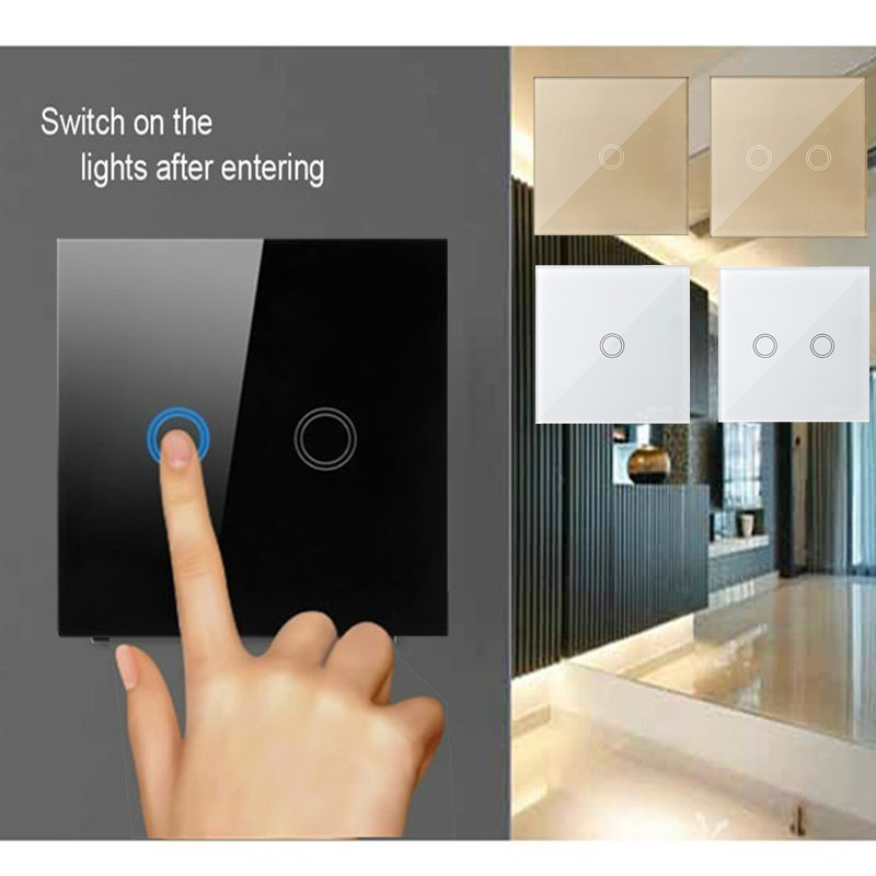 EU/UK Standard Wall Light switch,Crystal Glass Panel 1/2/3gang 1 way RF433 Wireless Remote Control Features Touch Sensor Switch wall light touch switch 2 gang 2 way wireless remote control power light touch switch white and black crystal glass panel switch