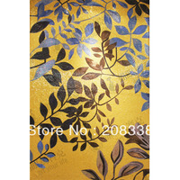 Ss201 gold leaves crystal mosaic cut picture tv background wall tile