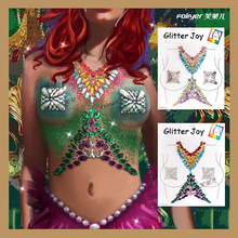 Body Art Tattoo Women Environmental Music Chest Sticking Vest Breat Jewels Masquerade Dance Party Nightclub Temporary Tattoos electric festival body art jewels paste diy chest drill acrylic drilling performance make up bar nightclub music party