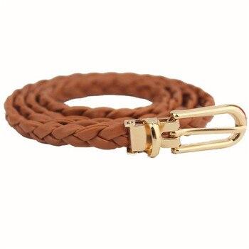 цена на Belt For Women Elegant Fashion Weave Leather Waistband Buckle Soild Color Small Fresh Slender Belt Dress Accessories 2019