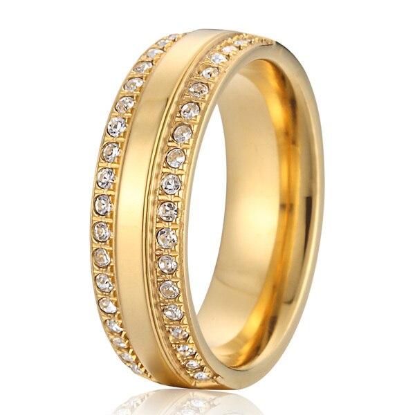Alliance de luxe couleur or jaune zircon cubique bijoux bandes de mariage en titane promesse anneaux pour les femmes