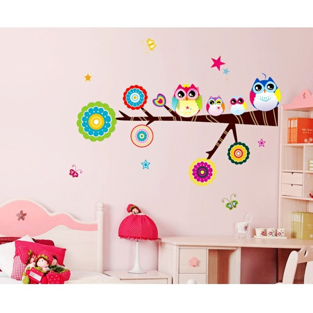 Brand Design Cute Owl Wall Sticker High Quality Home Decor Kid S Gift Colorful Cartoon Tree Children