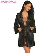 Avidlove 2018 Autumn Sleeve Sexy Nightwear Robes Lace Floral Long Satin Patchwork Nightgown Women Short Dressing Gowns for Women