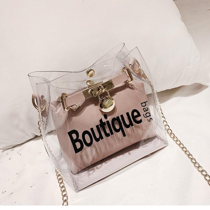 Fashion Women Transparent PVC Clear Jelly Bag Tote Handbag Shoulder Bag Purse US