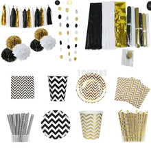 Black Gold White Party Decoration Tableware Chevron Striped Paper Plates Cups Straws Napkins Tissue Tassel Garland Paper Pompoms