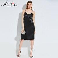 Kinikiss Women Elegant Spaghetti Strap Dress Satin Silky Face Sexy Feminine Dresses Lady Flare Straight Knee