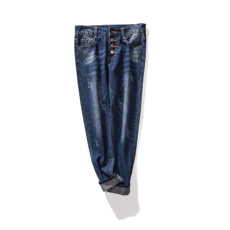 2019 синие базовые обтягивающие джинсы женские 4 пуговицы Fly Tie Dye джинсы повседневные джинсовые поцарапанные джинсовые брюки уличная большие размеры 5XL