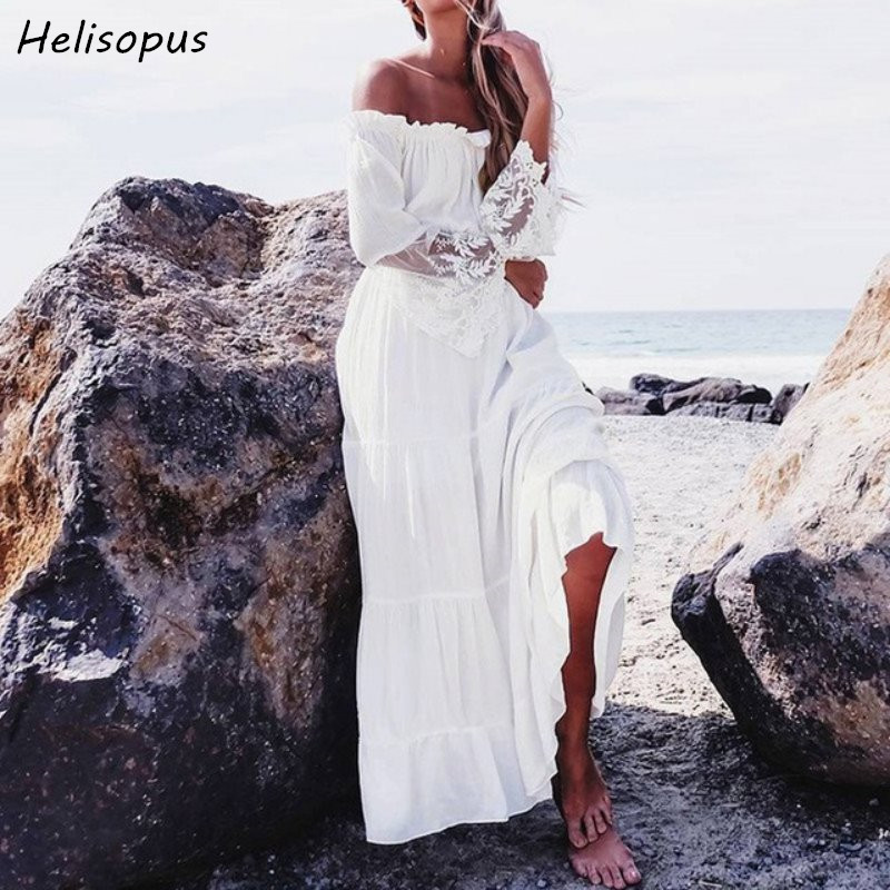 Helisopus 2017 Women Fashion Maxi Dress Lace Patchwork Summer Boho Evening Cocktail Party Beach Long White Dresses Sundress Платье