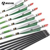 6/12/24 pçs 80cm espinha 500 setas de carbono od7.6mm id6.2mm com 2 verde e 1 branco pena turquia para caça tiro com arco
