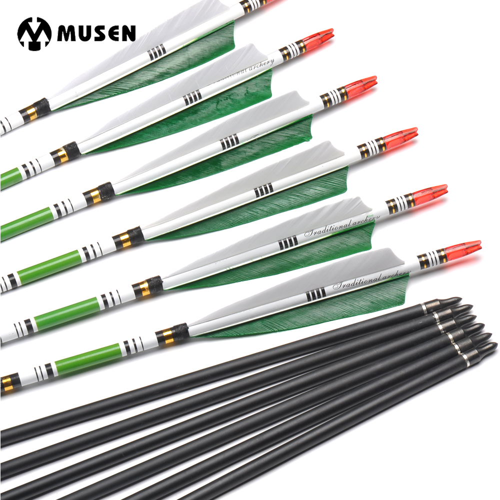 6/12/24pcs 80cm Spine 500 Carbon Arrows OD7.6mm ID6.2mm with 2 Green and 1 White Turkey Feather for Hunting Shooting Archery