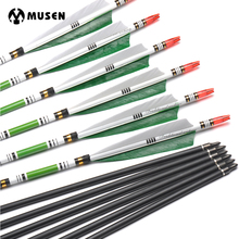 6/12 pcs 80cm Spine 500 Carbon Arrows OD7.6mm ID6.2mm with 2 Green and 1 White Turkey Feather for Hunting Shooting Archery