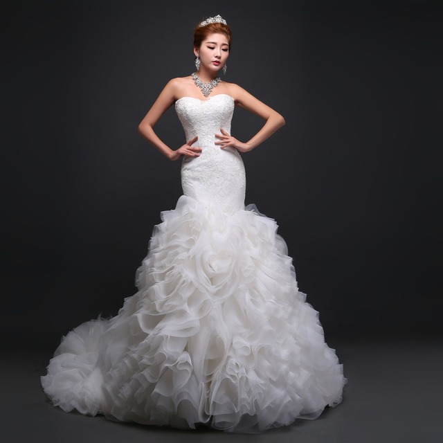 New Arrival Elegant Sweetheart Corset Bodice Wedding Dress Hand Made Embroidered Pure White Rose Train Bridal