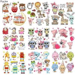 Prajna Unicorn Iron On Cartoon Animal Patches For Kids Clothes DIY T-shirt Applique Heat Transfer Vinyl Sticker On Clothes Decor