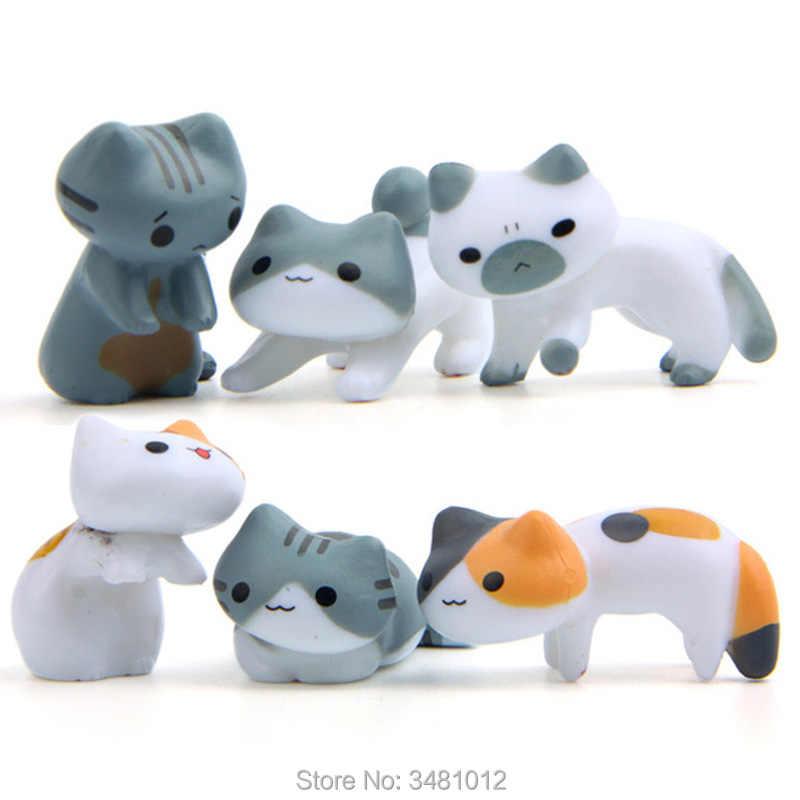 かわいい猫ニコニコ猫 Atsume キティモデルミニチュア樹脂アクションフィギュア子猫置物ミニ家の庭の装飾子供のおもちゃ
