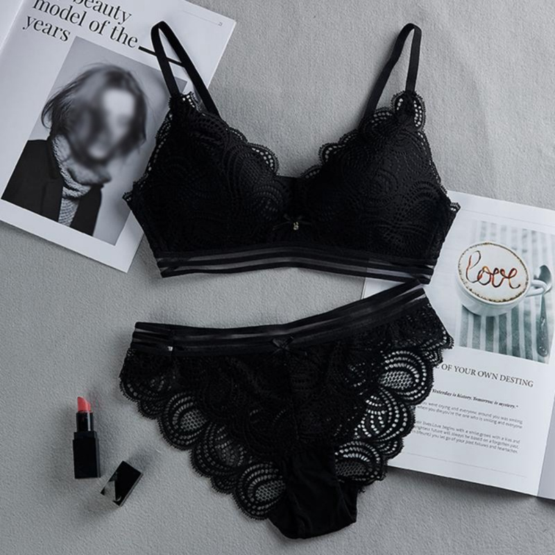 Woman Sexy Wire Free Lace   Bra     Set   Women Hollow Out Lingerie   Bra     Briefs     Set   Soft Underwear   Set