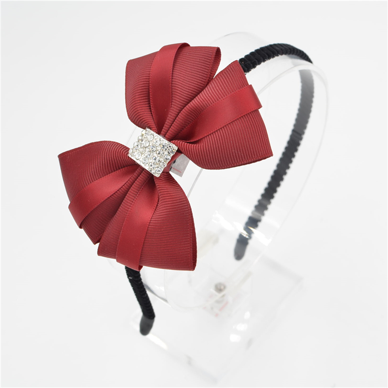 Women Girls lady Fashion Bow diamond Headband Hairband bowknot silk Elegant Hair Bands Holder Hoop headwear