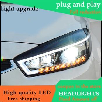 Car Styling Head Lamp For Cruze headlights 2015 2016 LED headlight DRL light Bi-Xenon Lens xenon HID Low Beam LED High Beam