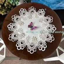Белый кружевной роскошный тканевый коврик с вышивкой в Европейском стиле, круглый коврик для стола, коврик для стола