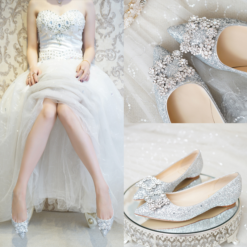 Women Shoes 3cm Heels Wedges Silver Sequins Crystal Buckle Ladies Wedding Pumps For Bride Low Heel Party High Quality Shoes Hot