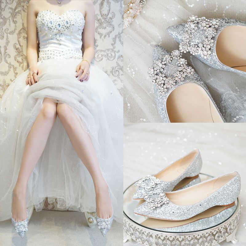 2dd4d818b6 Women Shoes 3cm Heels Wedges Silver Sequins Crystal Buckle Ladies Wedding  Pumps For Bride Low Heel