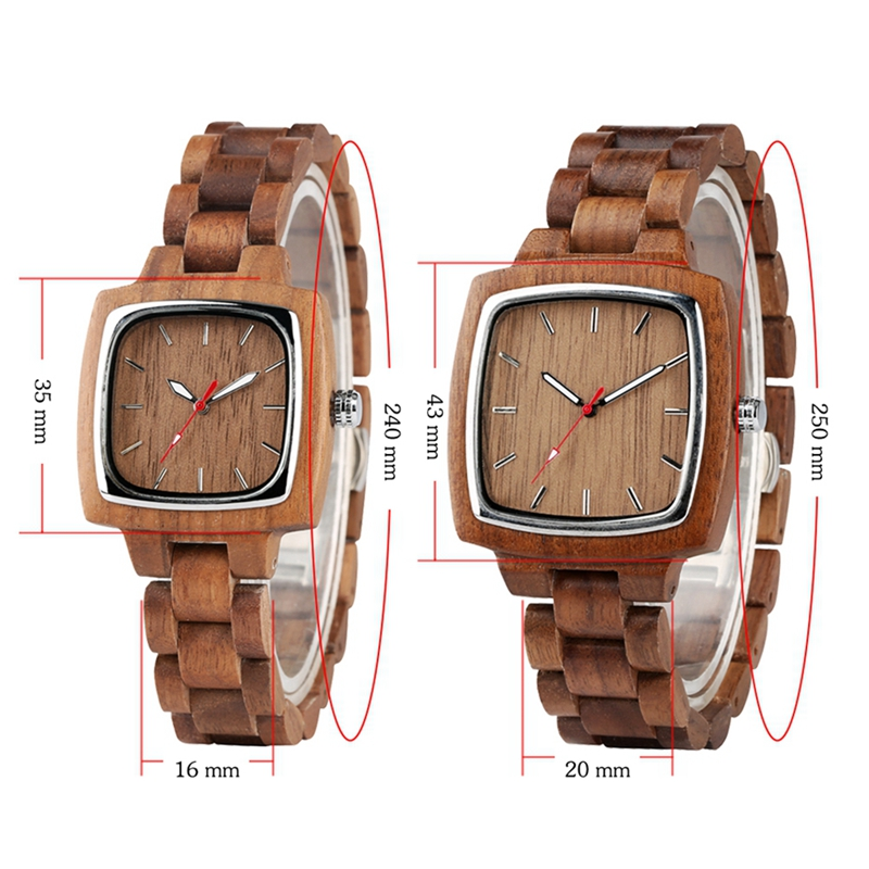 Full Wooden Watches for Men Clock Male Bamboo Chic Quartz Ladies Retro Walnut Wooden Bracelet Present a Great Gift for Men Women in Quartz Watches from Watches