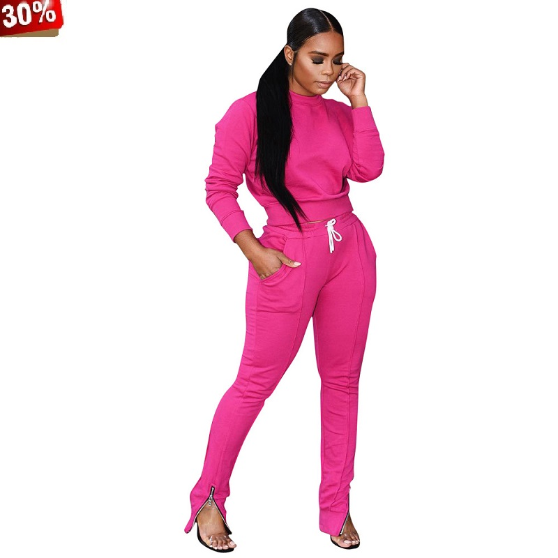 Two Piece Pants Sets 2018 Women's Two Piece Suit Sets Biker 2 Two Piece Set Tracksuit Pants Runway Top Set Clothing 2 Pcs Suit