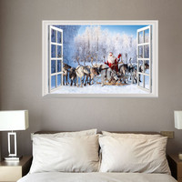 3D Christmas Wall Sticker Removable Mural Decals Vinyl Art Living Room Decors For Store Interior Walls