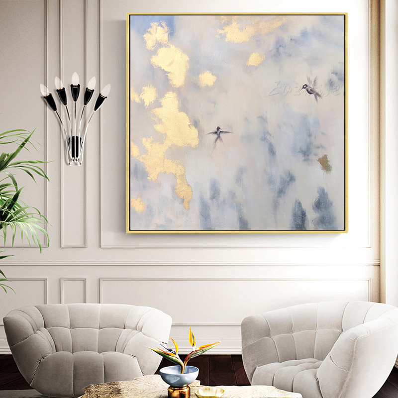 Art or toile peinture moderne abstrait acrylique mur Art décor pour salon photos or oiseau Texture Cuadros décoration