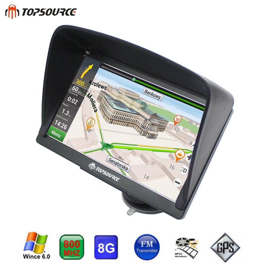 TOPSOURCE TS708 Navigator 7 HD vehicle Truck Car GPS Navigation Windows Ce6.0 MSB 2531 ARM Cortex A7 800MHZ 256M 8GB GPS MAP