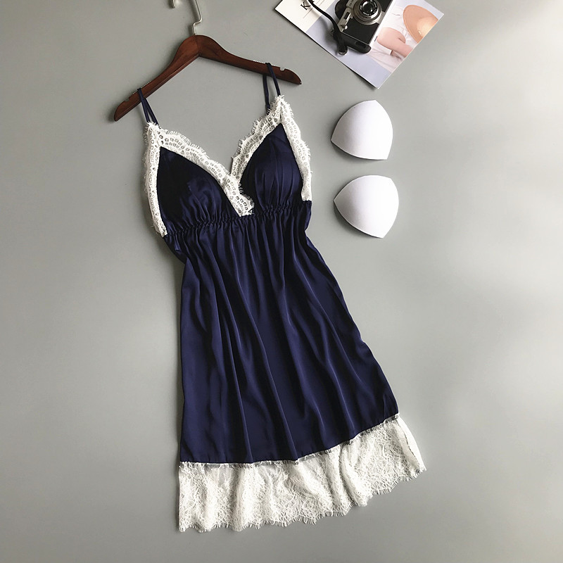 2019 Nightgowns & Sleepshirt Silk Sleepwear Women Lace Nightdress Ladie Satin Sexy Lingerie Nightshirts Sleep Lounge