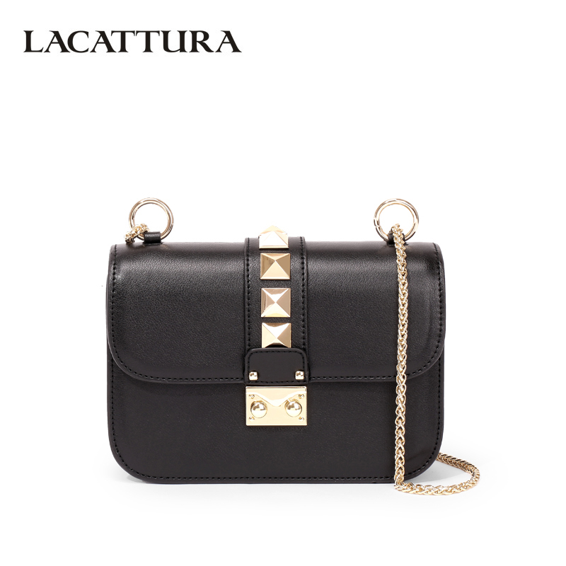 LACATTURA Luxury Handbag Designer Women Leather Chain Shoulder Bag Fashion Small Messenger Bags Rivet Clutch Crossbody for Lady luxury handbag women bags designer fashion chain messenger bag leather shoulder crossbody bag rivet clutch purse famous designer