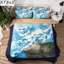 XYZLS Japan Style US/AU/UK Queen Bedding Set Crane Bedclothes Birds Retro Bed Linings Twin Full King Double Adults Bedding Kit(China)