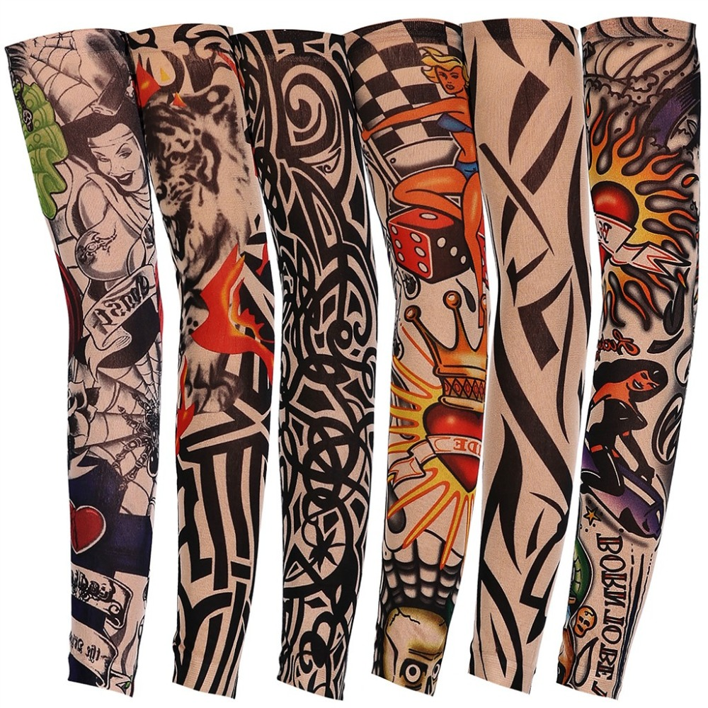 7Pcs 3D Tattoo Printed Arm Sleeves Sun Protection Bike Basketball Compression Arm Warmers Ridding Cuff Sleeves Tatoo Sleeve 233