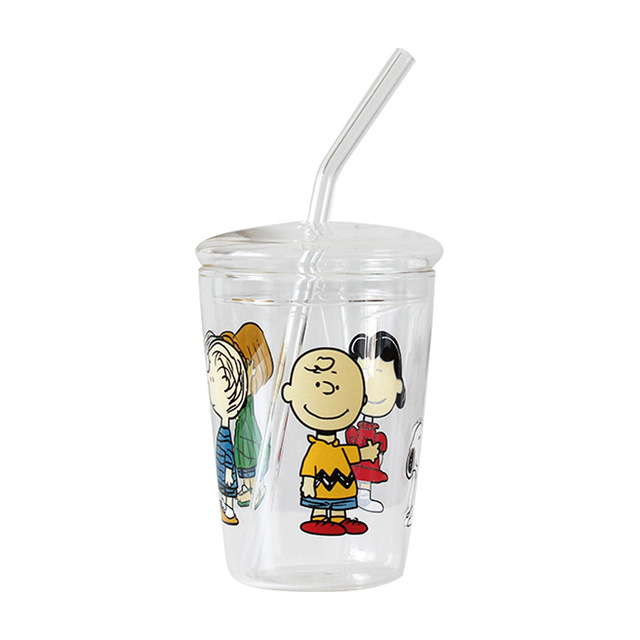 Cute Cartoon Glass Transparent Water Bottle With Straw 4