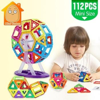 MiniTudou البسيطة 112 قطع المغناطيسي كتل البناء تنوير الجمعية بناء كتل لعب الاطفال التعليمية DIY البلاستيك الطوب
