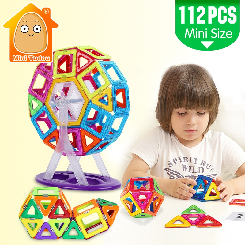 MiniTudou Mini 112PCS Magnetic Blocks Construction Enlighten Assembly Building Blocks Toys Kids Educational DIY Plastic Bricks 162pcs big size magnetic designer construction building blocks toys technic plastic blocks assembly children enlighten bricks