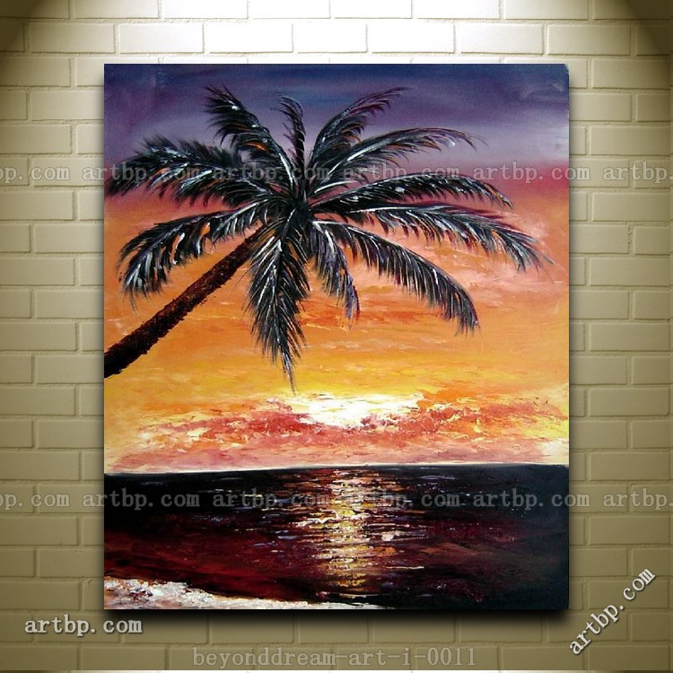 tropical beach palm tree in sunset skyscapes oil painting