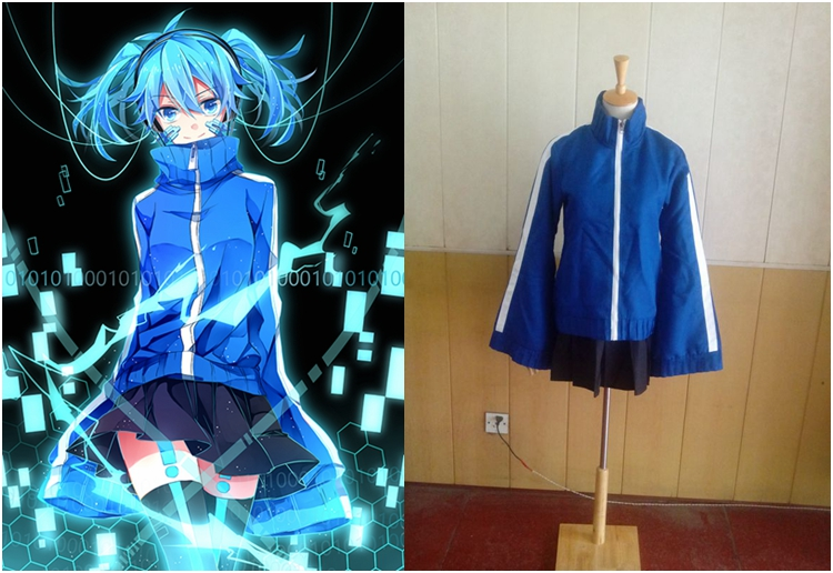 Disfraz moderno de cosplay de Enomoto Takane de KAGEROU PROJECT, conjunto completo de disfraz de anime personalizable en azul, Tops y falda 2 en 1